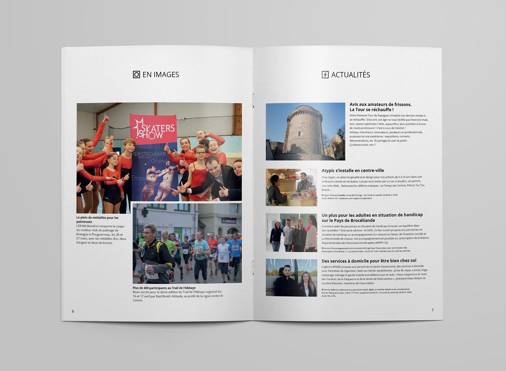 Deuxième et troisième pages pour la conception de magazine de la ville de montfort-sur-meu