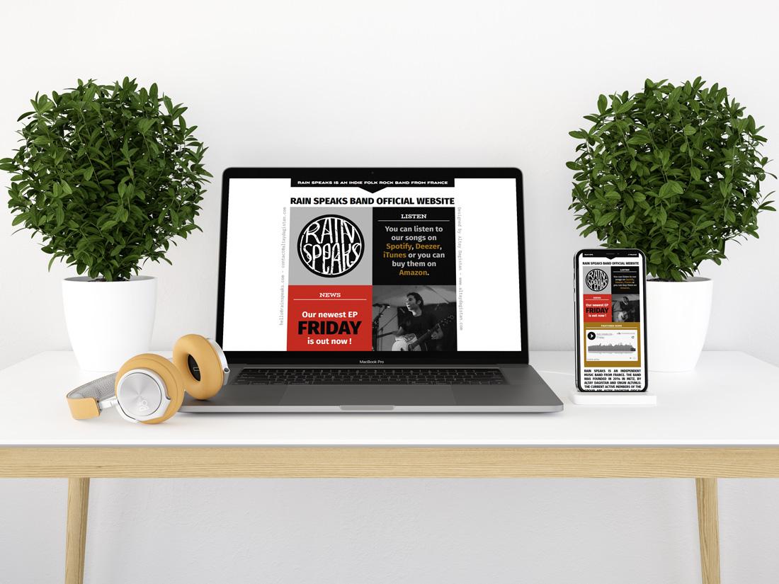 Présentation du site web d'un group de musique
