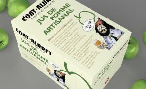 Design packaging pour un cubi de jus de pomme