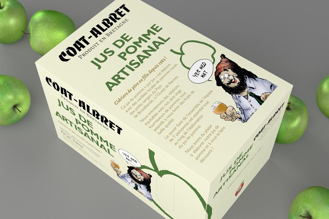 Design sur l'emballage de jus de pomme