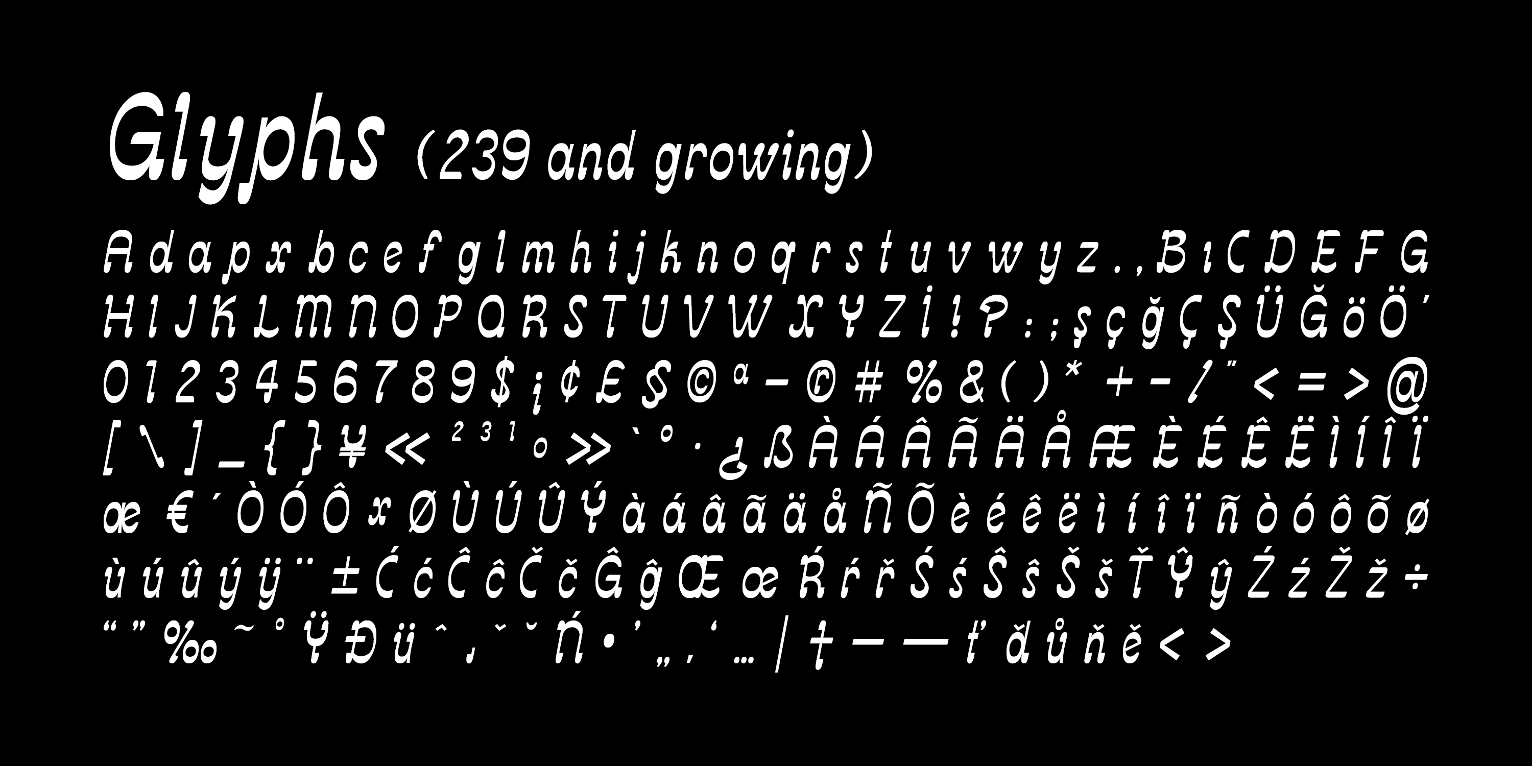 Glyphs of the Misket Typeface
