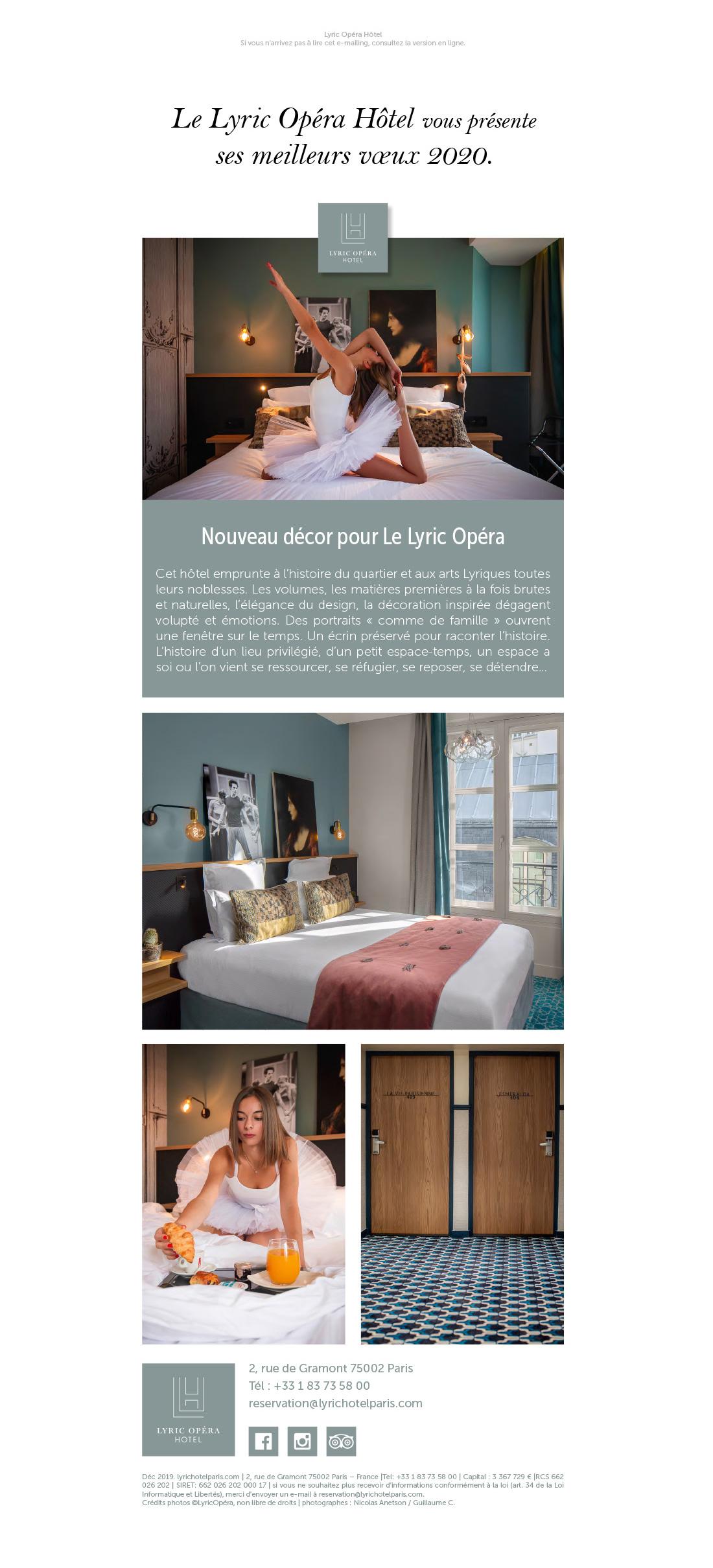 Création d'une newsletter pour un hôtel à Paris