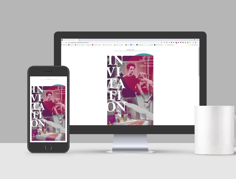 Création graphique d'une invitation numérique pour un hôtel