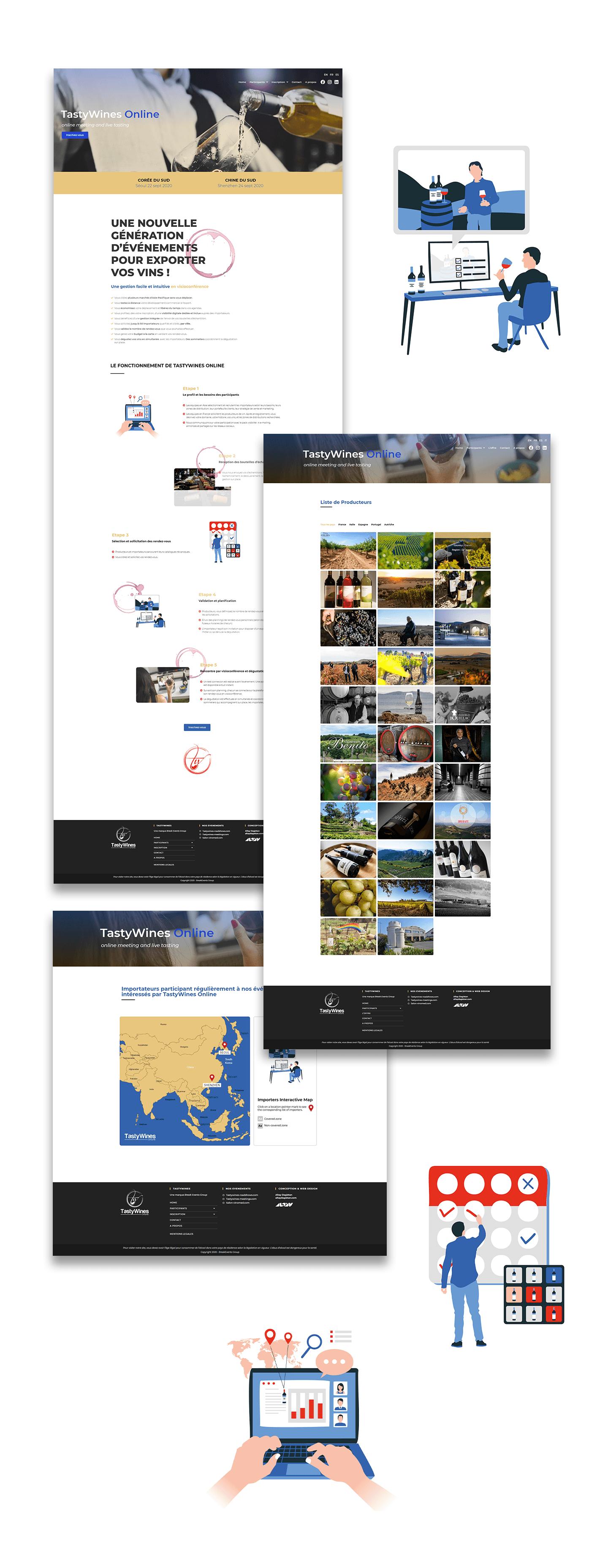 TasyWInes Online web design - présentation de toutes les pages.